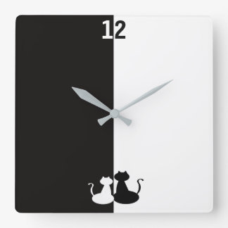 Black White Contrast Cats Opposite Silhouette Cool Square Wall Clock
