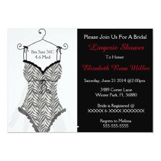 Black & White Corset Lingerie Bridal Shower Invite