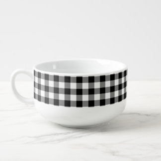 Black white Country check pattern soup bowl