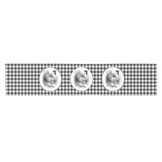 Black white Country rooster kitchen table runner