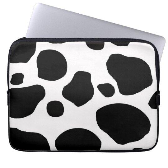 BLACK WHITE COW SPOTS ANIMAL PRINT LAPTOP SLEEVE