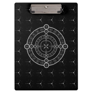 Black White Crop Circle Clipboard