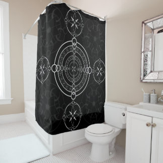 Black White Crop Circle Shower Curtain