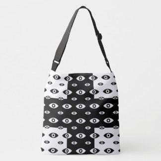 Black White Cross And Eye CrossBody Bag