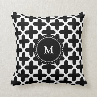 Black White Crosses Pattern Monogrammed Pillow