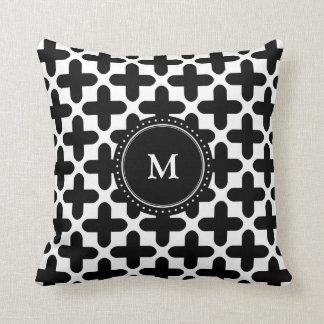 Black White Crosses Pattern Monogrammed Pillow Cushions