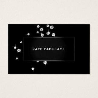 Black White Crystals Diamon Fashion Stylist Beauty Business Card