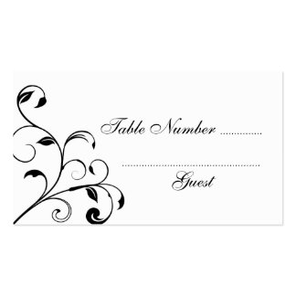 Black & White Curls Wedding Table Place Cards Pack Of Standard Business Cards