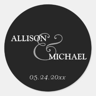 Black white custom ampersand wedding favor label round sticker
