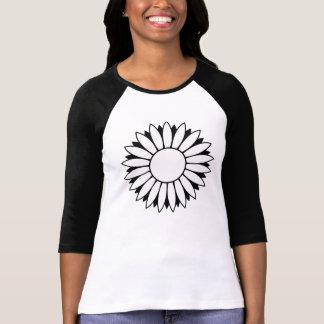 Black White Daisy Flower Power 3/4 Sleeve T Shirt