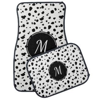 Black & White Dalmatian Spots Initial Letter Car Mat