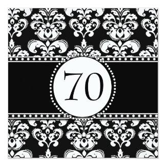 Black White Damask 70th Birthday Invitation