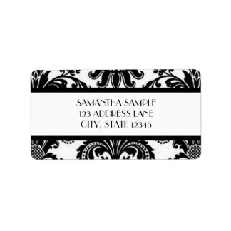 Black & White Damask Address Label