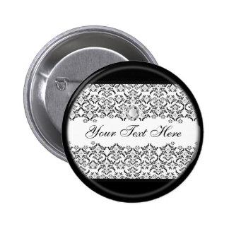 Black White Damask and Diamond Button