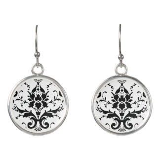 Black & White Damask Background Drop Earrings