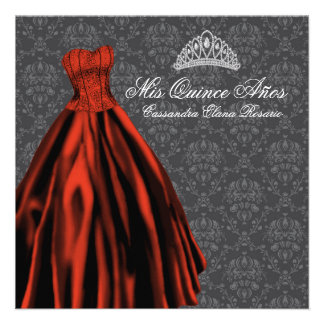 Black White Damask Black Red Quinceanera Personalized Announcement
