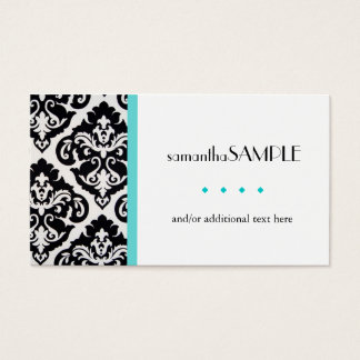 Black & White Damask Blue Business Card