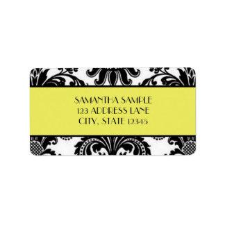Black & White Damask, Canary Yellow Address Label