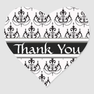 Black & White Damask Chandelier Thank You Stickers
