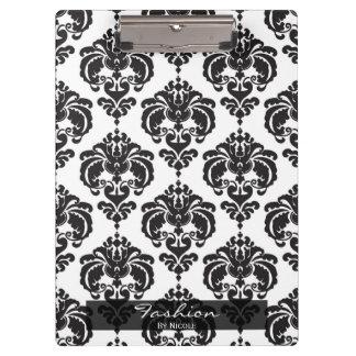 Black White Damask Chic Elegant Glam Personalized Clipboard