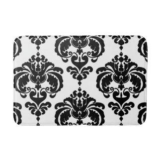 Black & White Damask Chic Modern Elegant Pattern Bath Mat