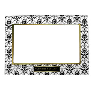 Black & White Damask Custom Wedding Photo Frame Magnets