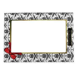 Black & White Damask Custom Wedding Photo Picture Frame Magnets