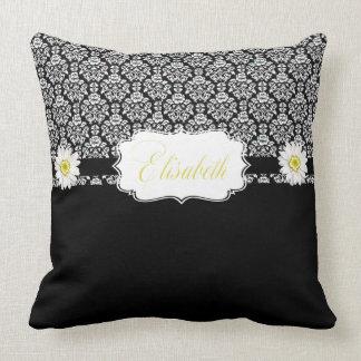 Black White Damask Designer Throw Pillow Daisies Throw Cushion