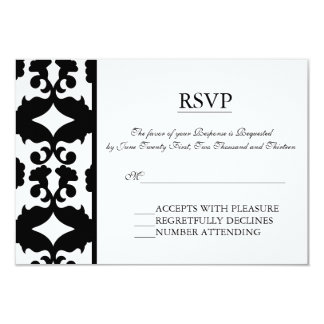 Black & White Damask Elegant RSVP cards Custom Invitation
