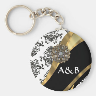 Black & white damask, faux jewel basic round button key ring