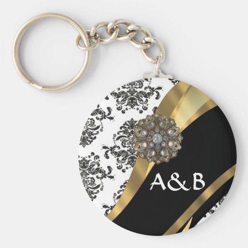 Black & white damask, faux jewel key chain