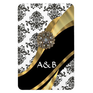 Black white damask faux jewel rectangular magnets