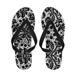 Black White Damask Flip Flops