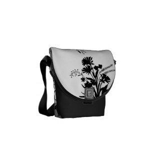 Black white damask floral mini messenger bag