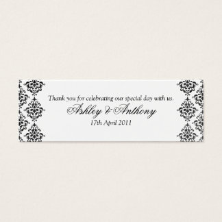 Black White Damask Floral Wedding Favour Tags Mini Business Card