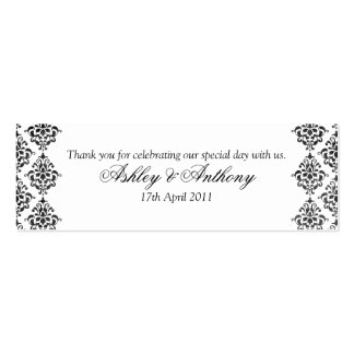 Black White Damask Floral Wedding Favour Tags Pack Of Skinny Business Cards