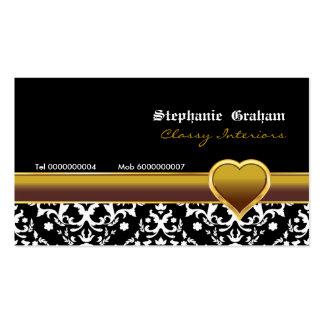 Black white damask gold heart business card