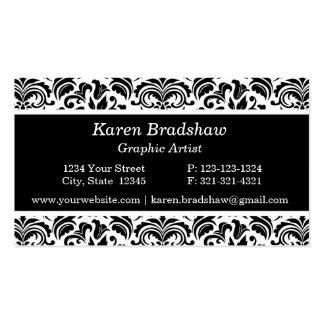 Black & White Damask Graphic Design Business Cards