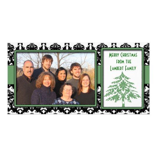Black & White Damask Green Tree Merry Christmas Card
