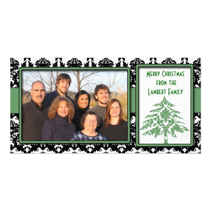 Black & White Damask Green Tree Merry Christmas Photo Card Template