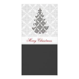 Black  White Damask  Holiday Personalized Photo Card