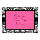 Black & White Damask, Hot Pink Card