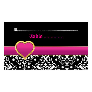 Black white damask hot pink wedding place card business card template