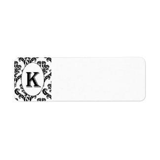Black & White Damask Initial Return Address Label
