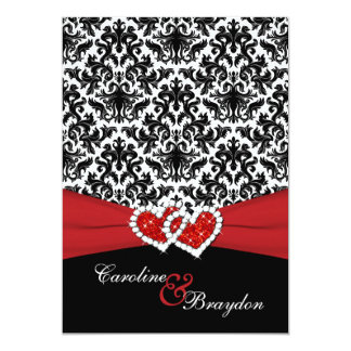Black, White Damask, Joined Hearts Wedding Invite