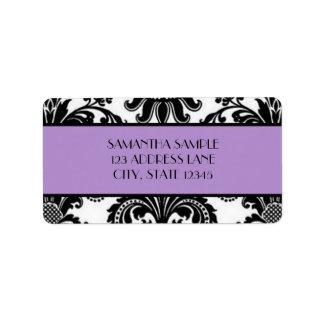 Black & White Damask, Lavender Address Label