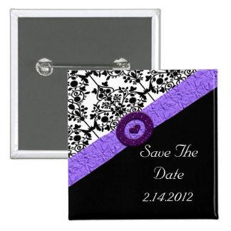 Black & White Damask Lavender Sparkle Heart 15 Cm Square Badge