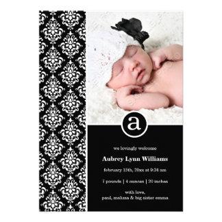 Black White Damask Monogram Girl Photo Birth Invite