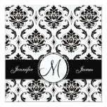 Black White Damask Monogram Wedding Invitation 13 Cm X 13 Cm Square Invitation Card