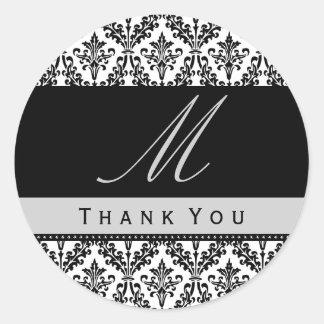 Black & White Damask Monogram Wedding THANK YOU St Round Sticker